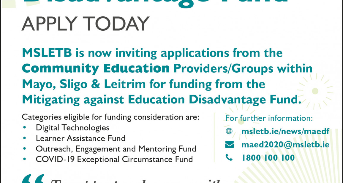 MSLETB inviting applications for Mitigating against Education Disadvantage Fund (MAEDF)
