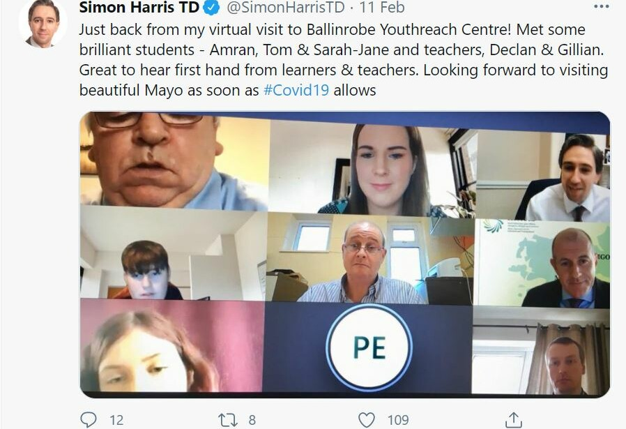Minister Harris says, 'the Future is Bright for Students in Ballinrobe Youthreach'.